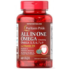 Puritan's Pride All in one Omega 3, 5, 6, 7 & 9 with vitamin D3 60 softgels